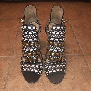Zara Tribal Black & White Sandals Heels 7.5